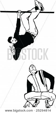 two guys hanging and looking at the top
