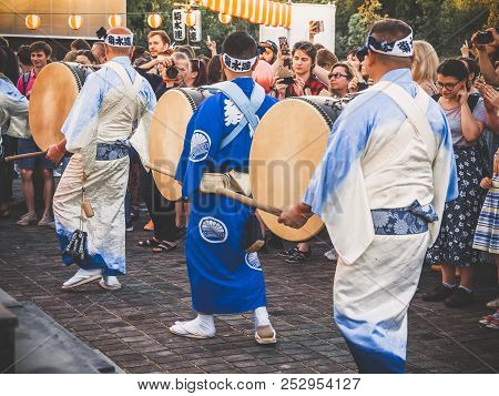 Moscow, Russia - August 09, 2018: Japanese Artists Perform At Bon Festival In Blue Kimono With Big D