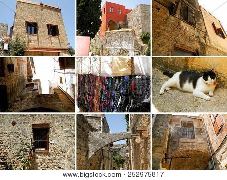 Collage Of Photos From Rhodes, Old Town. Collage Of Nine Photos From The Old Town Of Rhodes, Which I