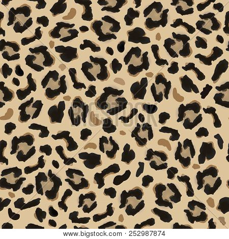 Pattern Of Dark And Light Brown Spots, Simulates The Leopard Fur. Beautiful Background Pattern, Grea