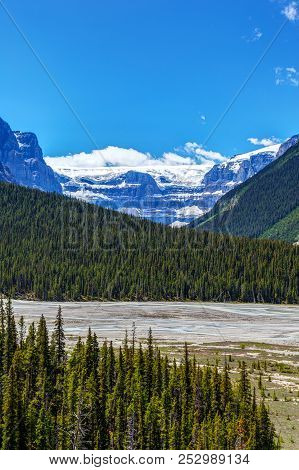 Stutfield Glacier On The Icefields Parkway In The Canadian Rockies. The Glacier Flows Southeast From