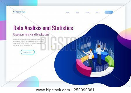 Isometric Web Banner Data Analisis And Statistics Concept. Vector Illustration Business Analytics, D