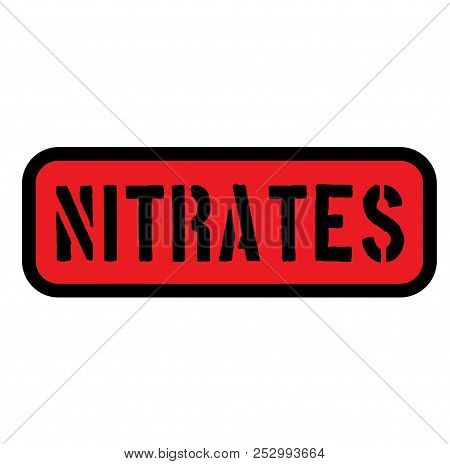 Nitrates Sign On White Background , Typographic Design