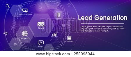 Lead Generation Web Header Banner That Attracts Leads - Target Audience To Increase Revenue Growth A