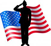 Vector Silhouette of a Soldier Saluting the American Flag poster