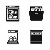 Dishwasher machine kitchen icons set. Simple illustration of 4 dishwasher machine kitchen icons for web poster