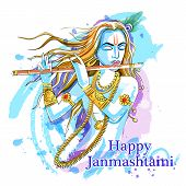 Lord Krishna playing bansuri flute on Happy Janmashtami holiday festival background poster