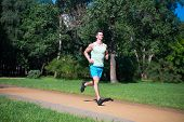 His best speed. Man jogger run in park sunny day nature background. Man training, prepare his body for marathon. Marathon popular sport challenge to improve yourself. Join morning jog community poster