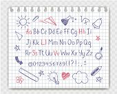 Alphabet in sketchy style with school doodles on copybook sheet. Vector handwritten pencil letters, numbers and punctuation marks. Ink pen handwriting font and doodle design elements. poster