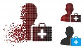 Vector paramedic icon in fractured, pixelated halftone and undamaged solid variants. Disappearing effect uses rectangular particles and horizontal gradient from red to black. poster