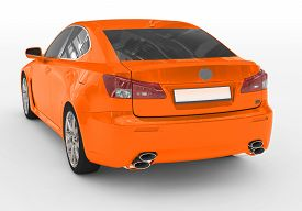 Car Isolated On White - Orange Paint, Tinted Glass - Back-left Side View - 3d Rendering