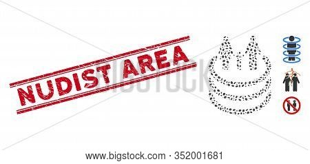 Rubber Red Stamp Watermark With Nudist Area Caption Inside Double Parallel Lines, And Mosaic Family