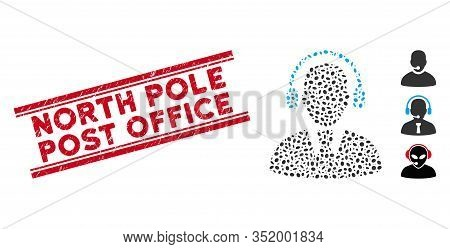 Grunge Red Stamp Seal With North Pole Post Office Caption Inside Double Parallel Lines, And Mosaic C