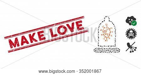 Grunge Red Stamp Seal With Make Love Phrase Inside Double Parallel Lines, And Collage Infection Prot