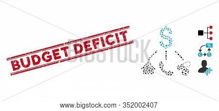 Rubber Red Stamp Seal With Budget Deficit Caption Between Double Parallel Lines, And Mosaic Life Exp