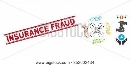 Rubber Red Stamp Seal With Insurance Fraud Text Inside Double Parallel Lines, And Mosaic Copter Care