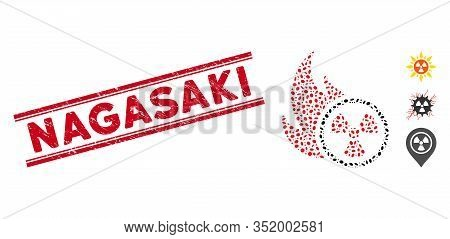 Rubber Red Stamp Seal With Nagasaki Phrase Between Double Parallel Lines, And Mosaic Atomic Fire Ico
