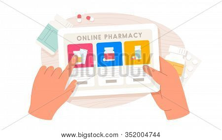 Online Pharmacy. Human Hands Holding Tablet And Buying Pills. Healthcare Online Pharmacy Concept. Sc