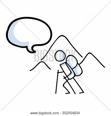 Hiking Stick Figure Near Mountain With Speech Bubble Line Art Icon. Carrying Backpack, Pole . Outdoo