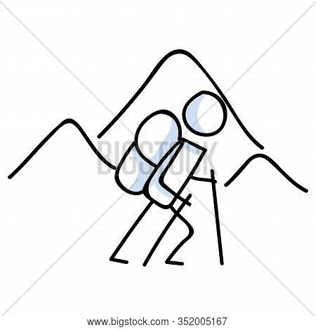 Hiking Stick Figure Near Mountain Line Art Icon. Carrying Backpack, Track Pole . Outdoor Leisure Wal