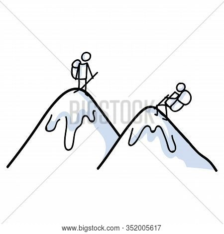 Hiking Stick Figure On Mountain Line Art Icon. Carrying Backpack, Piggyback Ride, Track Pole . Outdo