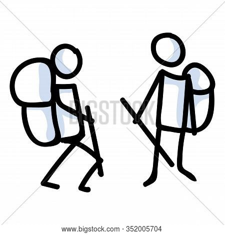 Hiking Stick Figure Line Art Icon. Carrying Backpack, Track Pole With Group . Outdoor Leisure Walkin
