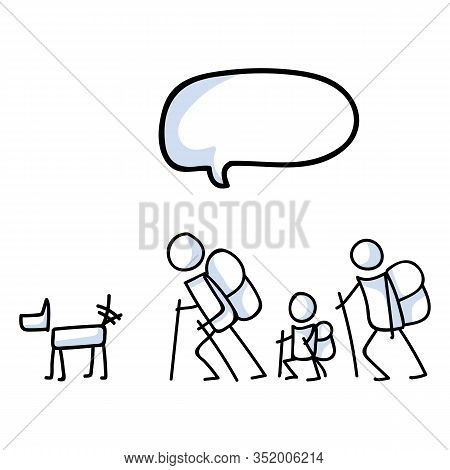 Hiking Stick Figure Line Art Icon Speech Bubble. Carrying Backpack, Track Pole, Dog And Kids . Outdo