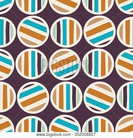 Mid Century Modern Vintage Pattern Background. Polka Dot Masculine Graphic Design . Seamless 1960s S