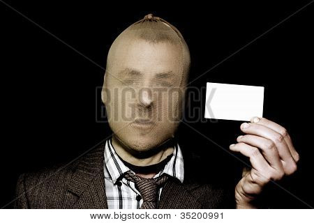 Dodgy Salesman With Business Card