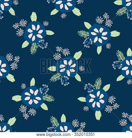 Classic Blue Daisy Floral Posy Motif Background. Naive Margerite Flower Seamless Pattern. Ditsy Eleg