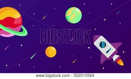 Flat Outer Space Background Illustration