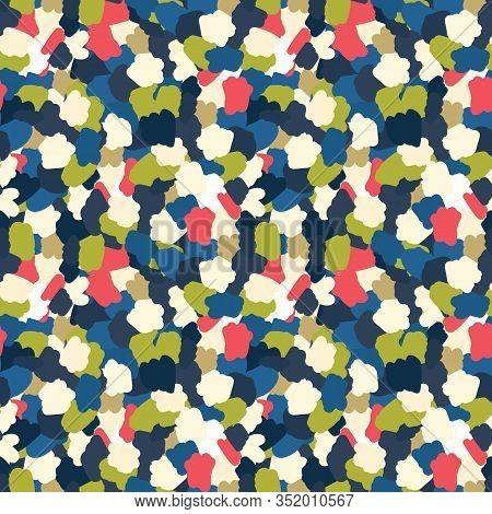 Classic Blue Hand Drawn Spotty Camo Dot Seamless Pattern. Playful Imperfect Appaloosa Style Backgrou