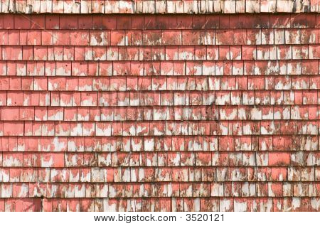 Old Weathered Red Barn, Detail Of Peeling Shingles