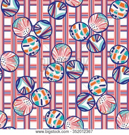 1950s Gingham Summer Floral Polka Dot Seamless Pattern. Pink Red Blue Flower Circle Check Background