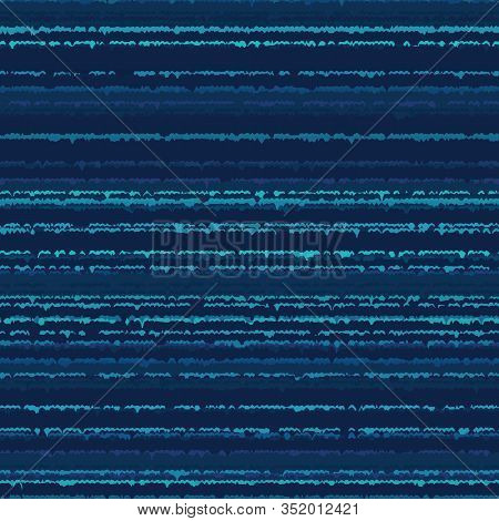 Blotched Space Dyed Classic Blue Stripe Background. Imperfect Horizontal Dripping Stripy Line Textur