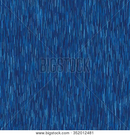 Classic Blue Denim Marl Vector Seamless Pattern. Heathered Jeans Effect. Dark Indigo Space Dyed Text