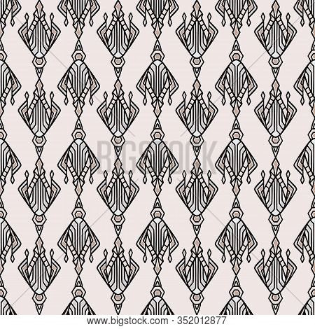 Vintage Art Deco Jewel Motif Vector Seamless Pattern. Stylised 1920s Style Geometric Flourish Damask