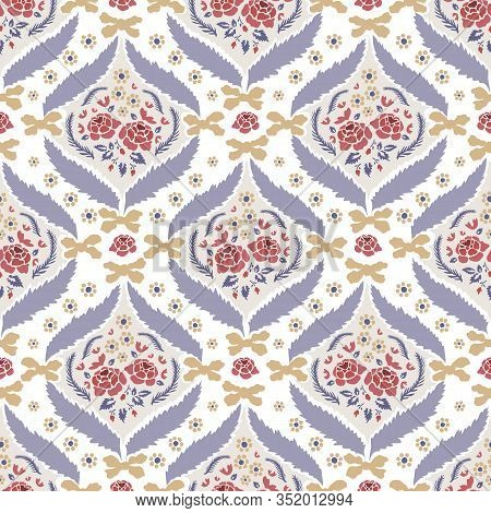 Hand Drawn Vector Arabesque Floral Paisley Damask Background. Seamless Pattern All Over Print. Tradi