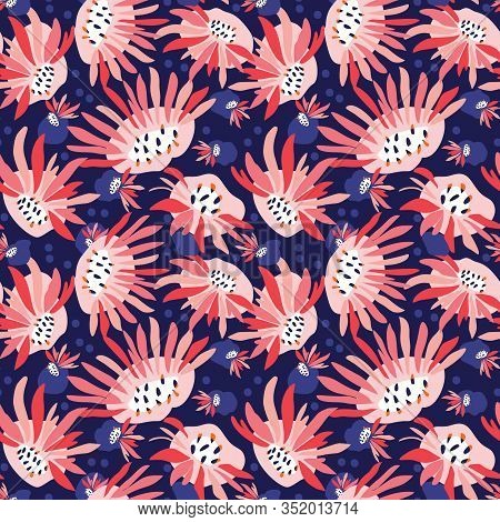 Hand Painted Bold Summer Bloom Floral Motif Seamless Pattern. Classic Blue Pink Flower Petal Backgro
