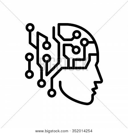 Black Line Icon For Artificial-intelligence Artificial Intelligence Psychology Chip Mechanism Humano