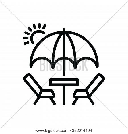 Black Line Icon For Picnic Barbecue Excursion Camp Table Umbrella Holiday Outing Resort
