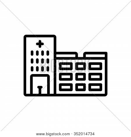 Black Line Icon For Hospital Clinic Emergency-room Hospice Institution Nursing-home Ward Infirmary M