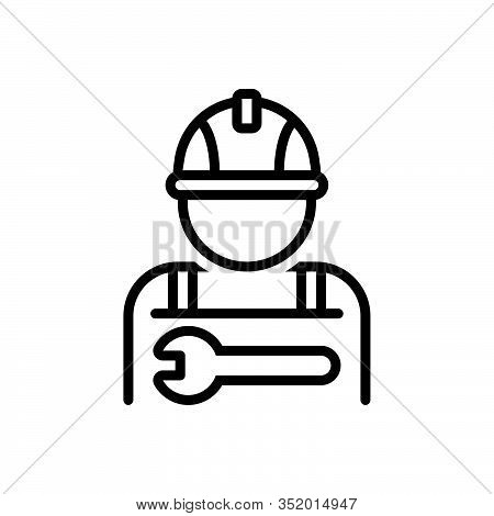 Black Line Icon For Worker Employee Practician Roustabout Attendant Salesperson Hireling Shopman Age