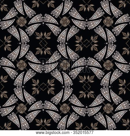 Vintage Art Deco Jewel Motif Vector Seamless Pattern. Stylised 1920s Style Geometric Flourish Dark D