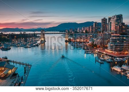 Vancouver - May 05 2019: Downtown Vancouver Canada. Scenic View At Burrard Bridge From Granville Isl