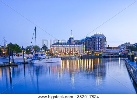 Victoria, Bc, May 08 2019: Downtown Victoria, Canada. Night Scene Of The Harbour In Downtown Victori