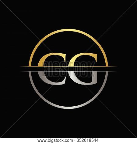 Initial Gold and Silver Color CG Letter Logo Typography Vector Template. Creative Abstract Letter CG Logo Design