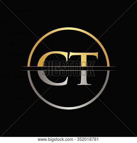 Initial Gold and Silver Color CT Letter Logo Typography Vector Template. Creative Abstract Letter CT Logo Design