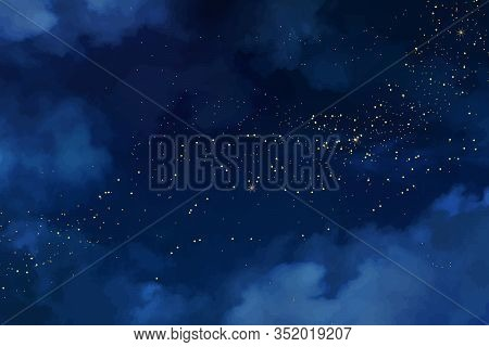 Magic Night Dark Blue Sky With Sparkling Stars. Gold Glitter Powder Splash Vector Background. Golden