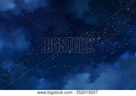 Magic Night Dark Blue Sky With Sparkling Stars. Gold Glitter Powder Splash Vector Background. Golden